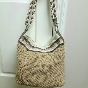 THE SAK Crochet Tan/Brown/Pink/Beige Weave Handbag
